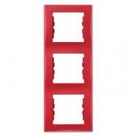 Рамка 3 поста вертикальная красный Sedna