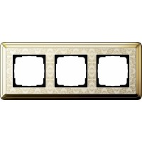 Рамка 3 поста латунь/кремовый CassiX Art