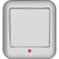 Выключатель 1 клавишный, белый, откр. установки, с индикацией ПРИМА (уп. 38 шт)