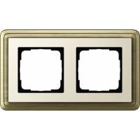 Рамка 2 поста бронза/кремовый CassiX