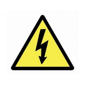 Предупреждающий знак Опасное напряжение треугольник, 100 мм, желтый