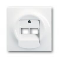 Накладка для  розетки двойной телефонной/компьютерной  альпийский белый impuls