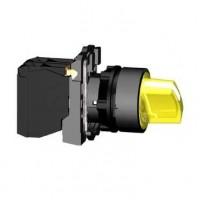 Переключатель 22мм желтый с подсветкой 24В AV/DC 2-х позиционный 1НО+1НЗ с фиксацией