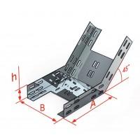 Лоток для поворота трассы вверх под углом 45˚КП/КПГ 600x65-45