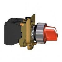 Переключатель 22мм красный с подсветкой 220В AC 2-х позиционный 1НО+1НЗ c фиксацией