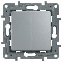 Выключатель/переключатель 2 клавишный алюминий Etika