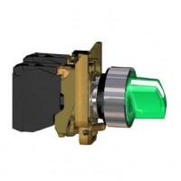 Переключатель 22мм зеленый c подсветкой 24В AC/DC 2-х позиционный 1НО+1НЗ c фиксацией