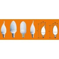 Лампа энергосберегающая 7 Вт Е27 2700К свеча витая золотистая