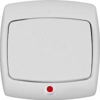Выключатель 1 клавишный с индикатором белый РОНДО