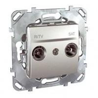 Розетка телевизионная R-TV/SAT проходная алюминий Unica Top