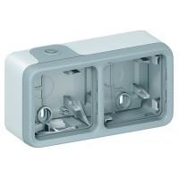 Коробка 3 поста, горизонтальная серый IP 55 Plexo