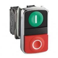 Кнопка двойная зеленая утопленная красная  выпуклая с маркировкой 22 мм 1НО+1НЗ c возвратом