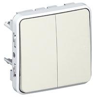 Выключатель/переключатель 2 клавишный встраиваемый  10A, белый  IP 55  Plexo
