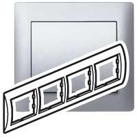 Рамка 4 поста вертикальная алюминий Galea Life