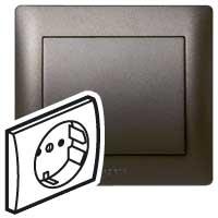 Накладка  для розетки 2Р+Е со шторками темная бронза Galea Life