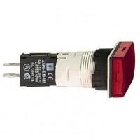 Сигнальная лампа красная 16 мм прямоугольная со встроенной LED подсветкой 12- 24В AC/DC