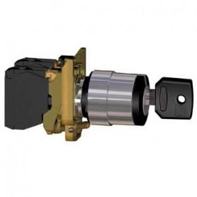 Переключатель 22мм черный с ключом 3-х позиционный 2НО c фиксацией