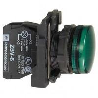 Сигнальная лампа зелёная 22 мм с цоколем BA 9s для лампы накаливания до 250В АС