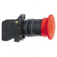Кнопка красная аварийного останова 22мм 1НО+1НЗ триггерного действия с возвратом поворотом