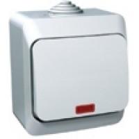 Выключатель 1 клавишный с подсветкой IP44 белый Этюд