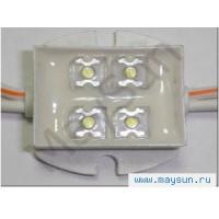 Светодиодный модуль Пиранья 4LED DC 12V IP67, 10000-10500К белый