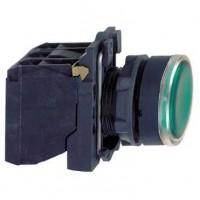 Кнопка зелёная 22 мм 1НО+1НЗ со встроенной LED подсветкой 24В с возвратом