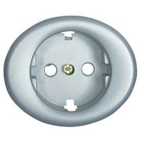 Накладка для розеток 2Р+Е серебро Tacto