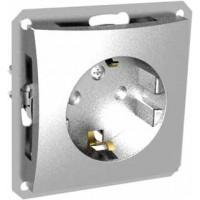 Розетка 2P+E со шторками серебро Дуэт