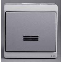 Выключатель 1 клавишный с подсветкой IP55 в сборе серый Mureva