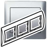 Рамка 3 поста Brushed Aluminium