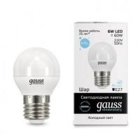 Лампа gauss E27 6Вт 6500K