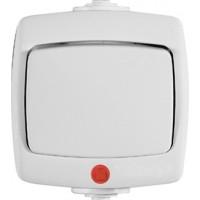 Переключатель 1 клавишный IP44, с индикатором белый РОНДО