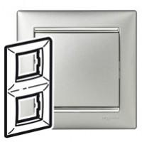 Рамка 2 поста вертикальная алюминий/серебряный штрих Valena