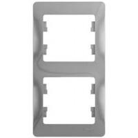 Рамка 2 поста вертикальная алюминий Glossa