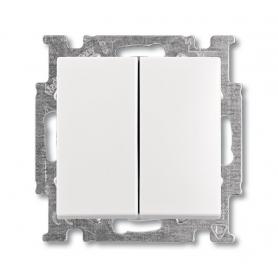 Выключатель 2-клавишный альпийский белый Basic 55