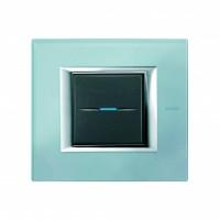 Рамка 2 модуля прямоугольная голубое стекло Axolute