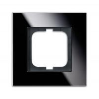 Рамка 1 пост стекло черное carat