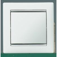 Pамка 1 пост белый/серебро Valena