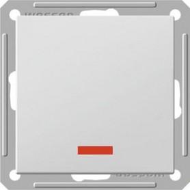 Переключатель проходной 1 клавишный с подсветкой белый Wessen59