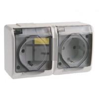 Розетка брызгозащищённая прозрачная 2-х местная 16А РСб22-3-ГБ IP44