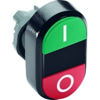 Кнопка двойная (зеленая/красная) непрозрачная черная ли нза с текстом (I/O) тип MPD2-11B