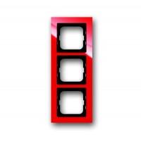 Рамка 3 поста цвет красный Axcent