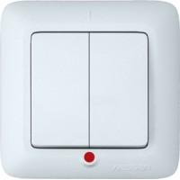 Выключатель 2 клавишный с индикатором белый Прима
