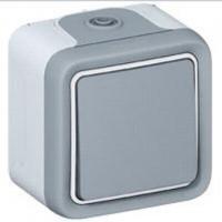 Кнопка 10A HO накладная, серый  IP55 Plexo