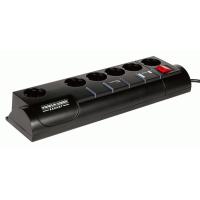 Сетевой фильтр 5+1 розетка, 3 м, черный, страховка, телефонная защита Garant