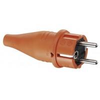 Вилка резиновая с заземлением оранжевая 250В 16А IP44