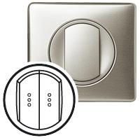 Клавиша для выключателя/переключателя 2 клавишного с индикацией титан Celiane