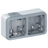 Коробка 2 поста горизонтальная, серый IP 55 Plexo