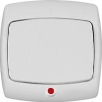 Переключатель 1 клавишный с индикатором белый РОНДО