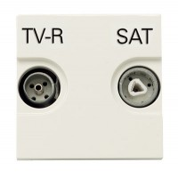 Розетка TV-R-SAT проходная с накладкой белый Zenit
